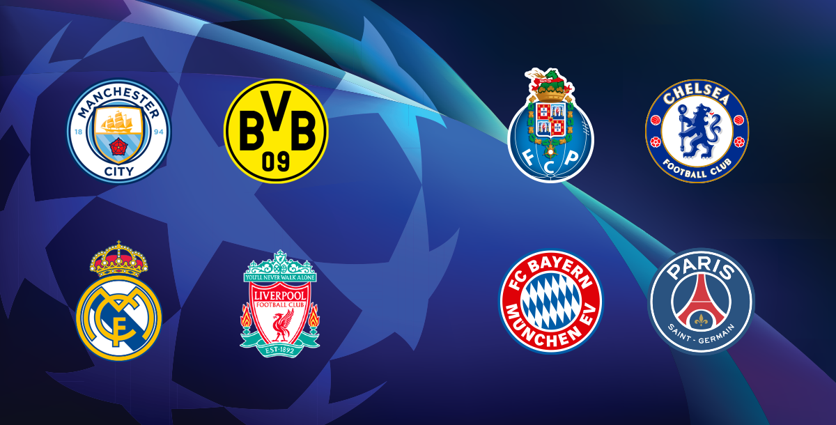 Logos of the participant teams in the Quarter-finals of the 20/21 Champions League