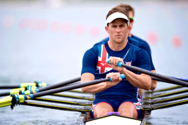 Peter Lambert rowing for the British team